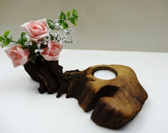 Unique Wood Candle Holder, Rustic Wood Candle Holder, Oak Candle Holder, Rustic Home Decor, Centerpiece, Branch Candle Holder