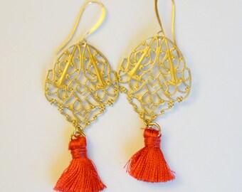 Red Tassel Earrings, Chinese New Year Earrings, Gilt Brass Earrings, Moroccan Style Earrings, Filigree Earrings, JewelryFineAndDandy, SRAJD