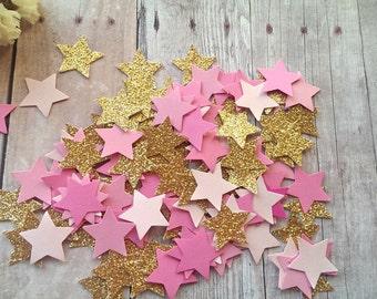 Twinkle Twinkle Little Stars/Gold Glitter star Confetti/Pink star confetti/Star Confetti/Baby girl confetti/Baby Boy Confetti/Star die cuts