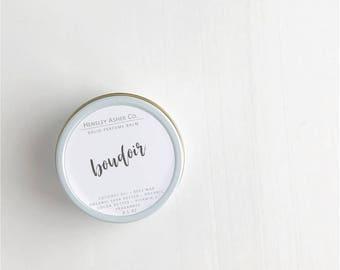 Boudoir Solid Perfume Balm- fragrance - scent-moisturizer- coconut oil- cocoa oil- vitamin e- shea butter- beeswax-salve- stocking stuffer