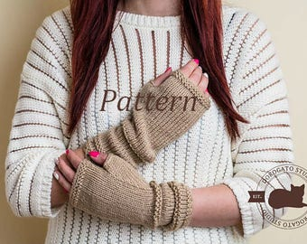 Fingerless Gloves Pattern, Knit Glove Pattern, Knit Glove Mittens Pattern, Knit Gloves, Instant Download /6001/