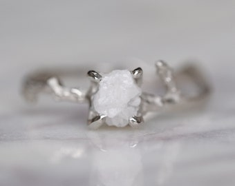 1.16 Carat Rough Diamond Branch Engagement Ring, 14k White Gold