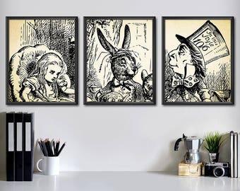 Mad Hatter Tea Party - Alice in Wonderland Decorations Set of 3 - Alice in Wonderland Decor Set - Alice in Wonderland Wall Art Set - 2003