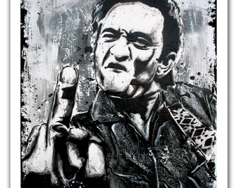 "12 x 18"" - Johnny Cash black and white art print - Johnny Cash black and white poster - Johnny Cash flipping off camera - the man in black"