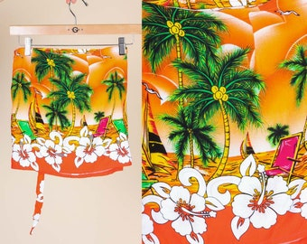Vintage Girls Wrap Skirt - Youth Medium to Large // 70s Tropical Sarong Beach Miniskirt