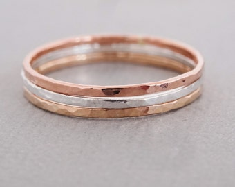 Thin Stacking Rings 3 mixed metal minimal stacking rings sterling silver, rose gold filled and gold filled stack rings