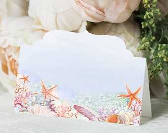 Nautical Table Name Cards, Seating Cards, Nauticul Wedding, Blank Name Cards, Sea Theme
