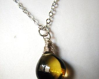 A Wee Dram, bi-coloured quartz briolette, sterling silver necklace, by melanie j cook