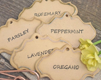 Gardener gift set, Herb markers, plant markers, set of 5, plant tags, garden art, garden decoration - Old Stock
