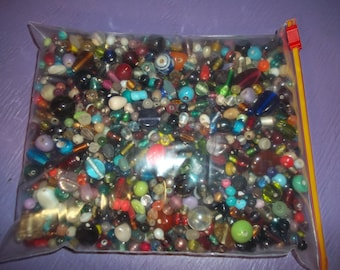 1 kilo assorted glass beads real parts craft jewelry supplies