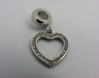 1 heart charms in stainless steel with cubic zirconia 27 mm x 16 mm