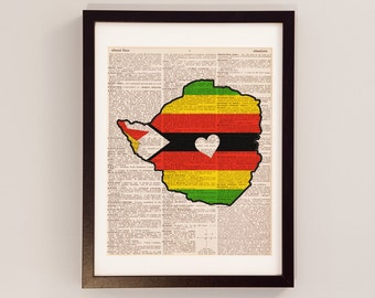 Zimbabwe Dictionary Art Print - Harare Art - Print on Vintage Dictionary Paper - Zimbabwe Flag, Bulawayo, Chitungwiza, Mutare, Epworth