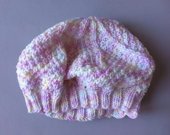Beret woman, handmade item wheat Heather, pastel colors