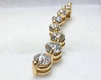 Diamond journey necklace etsy diamond journey pendant necklace l 14kt yellow gold diamond pendant aloadofball Image collections
