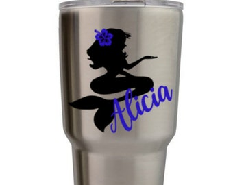 mermaid yeti decal, personalized yeti tumbler decal, name decal for yeti, monogrammed sticker for yeti, tumbler decal, ozark tumbler decal