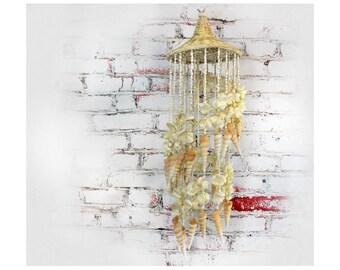 sea shell wind chime - sea shell mobile - seashell chandelier - sea shell decor -  beach house decor - shell mobile - shell wind chime -#120