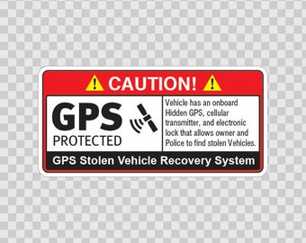 Decal Sticker GPS Protected Prevention Sign Vehicle 14069