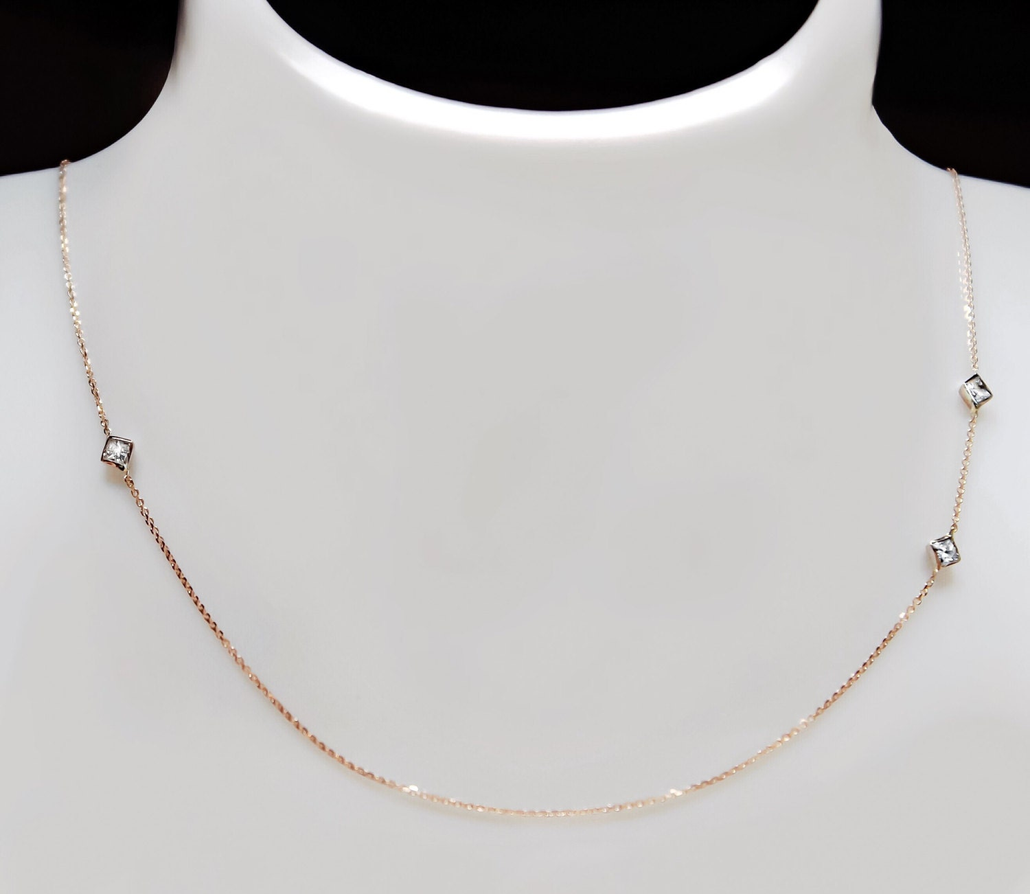 gold princess product and white cut diamond pendant chain necklace