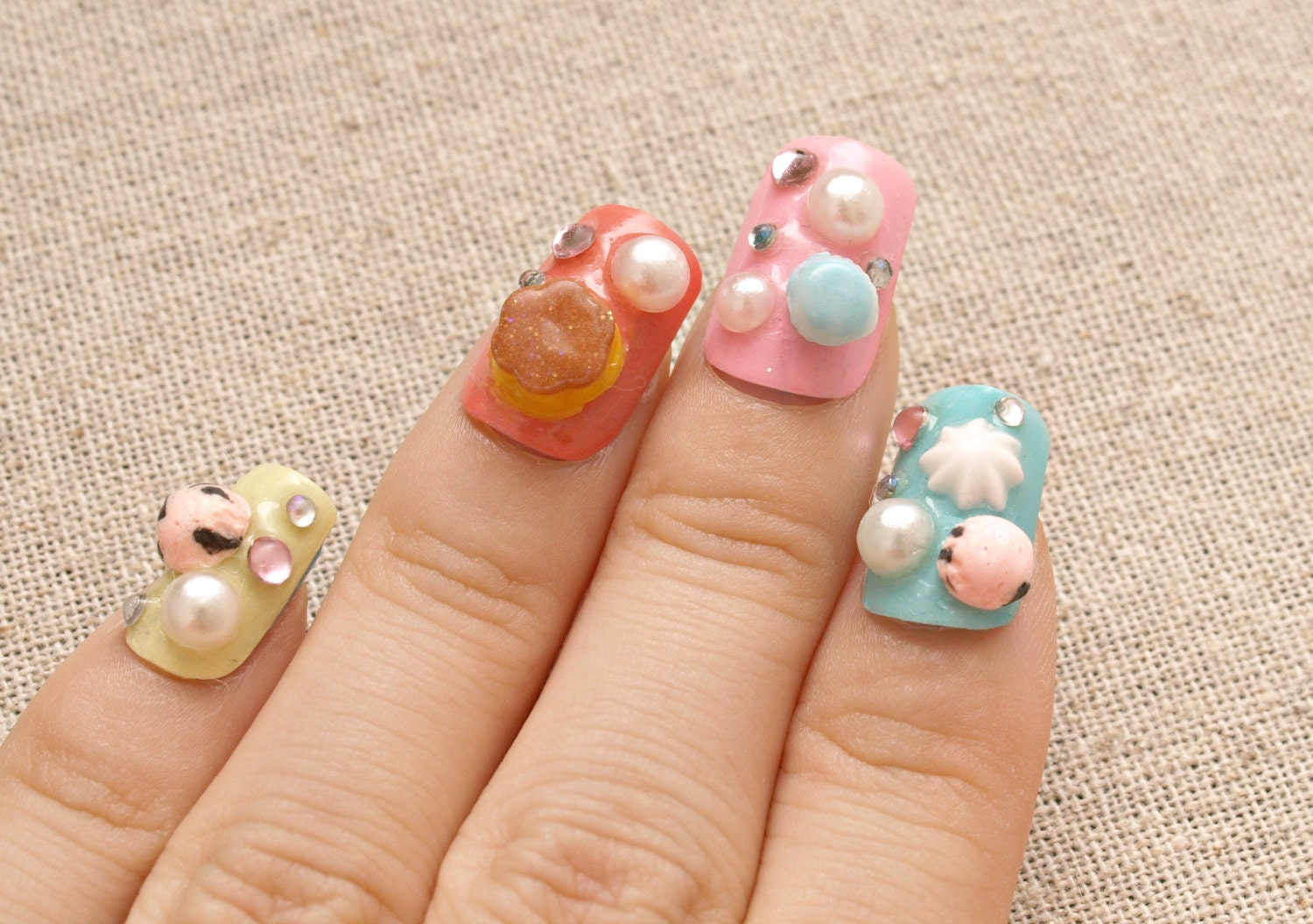 Japanese 3D nails, lolita accessory, Harajuku, Jfashion, pastel ...
