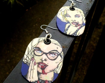 Zombie Marilyn Monroe - hand-painted earrings in deep purple