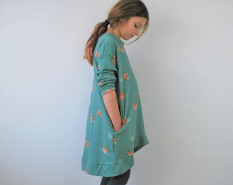 Girls fox dress green blue pocket 7-8yr smock spring summer organic cotton girl floppy foxy jumper slouchie dress foxes pockets stretch knit
