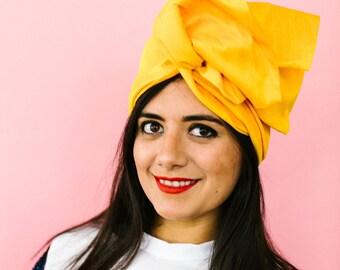 Mustard Yellow Dupioni Silk Headwrap Turban