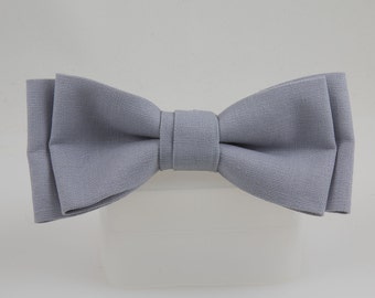 Gray Clip-on Bow Tie Handmade, Linen Fabric Bowtie, Soft grey color great for weddings and Women