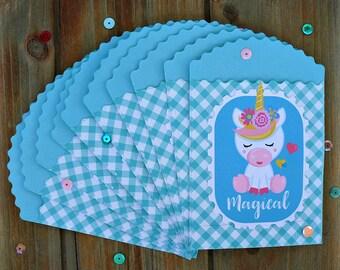 Set of Ten Mini Treat Bags, Unicorn Treat Bags, Mini Treat bags, Small Party Favor Bags