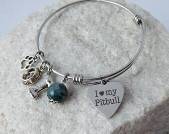 Pitbull charm bangle bracelet Adjustable Dog lover gift Personalized I love my Pitbull charm Dog lover bracelet Animal lover Animal adoption