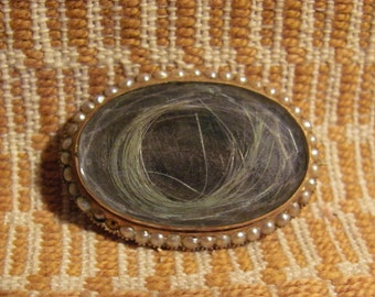 Antique Mourning Oval Brooch Delicate Border of Itsy Bitsy Pearls