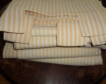 4 Vintage Yellow and White Cotton Ticking Fabric Drapery Panels from Restoration Hardware in Very Good Condition with curtain rod holders