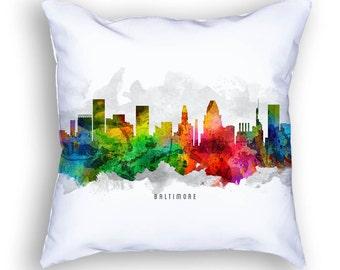 Baltimore Pillow, Baltimore Cityscape, Baltimore Skyline, Baltimore Throw Pillow, 18x18, Cushion Home Decor, Gift Idea, Pillow Case 12