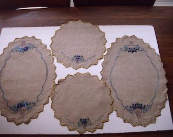 Set of Four Vintage Beige Linen Doilies, Embroidered Doilies, Round Doilies, Embroidered Oval Doily, Beige Doilies, Doily Set, Doily Lot