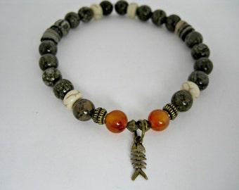 Mens Fish Bracelet, Mens Boho Bracelet, Protection Bracelet, Fish Skeleton, Snowflake Jasper, Strengh, Brown Bracelet, Gift For Him