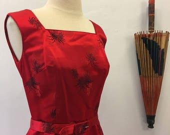 Wiggle dress & jacket set * Vintage 1960s formal dress suit  * 60s silk satin dress with jacket