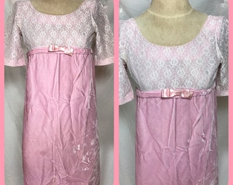 1960s Empire Waist Bridesmaid Dress with Pink Lace Bodice, Velvet Skirt and Satin Bodice Bow - Extra Small