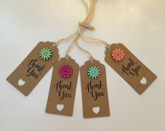 Handmade - Hand Stamped - Thank You Gift Tags - Set of 4 - Wooden Flower Design - Gift Labels