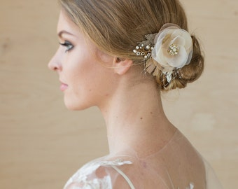 Wedding hairpiece Wedding hair flower Bridal hair pieces Bride hair accessories Burlap headpiece Rustic hair flower vintage headpiece