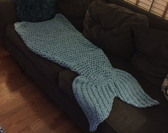 Angie's Quick and Easy Mermaid Tail Lap Blanket Crochet Pattern -- Make it as a tube or open in the back -- Adult and Children Sizes