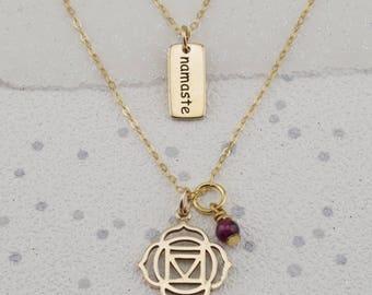 Gold Root Chakra necklaces, Muladhara gift, garnet necklace, namaste charm,yoga chakra gift, january birthstone necklace, mindfulness gift