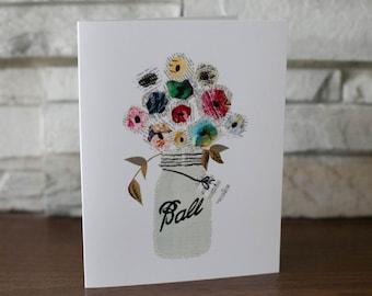 Mason Jar Flowers Note Cards