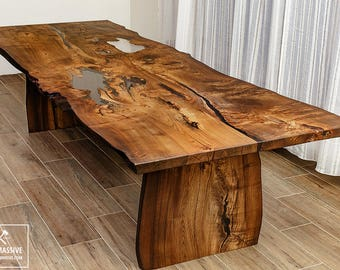 Dining Table Wood Epoxy | Dining Table Legs Wood | Rustic Table | Slab Table  |