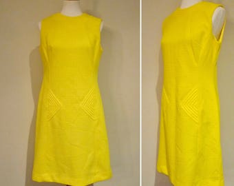 Vintage 60s Sunny Yellow Shift Dress with Sculptural Details Size M/L