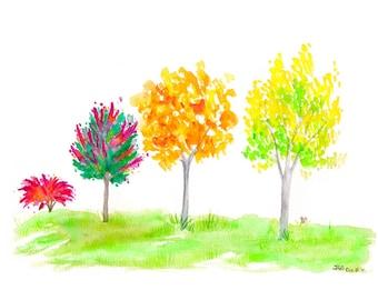 Autumn Foursome - Watercolor Print