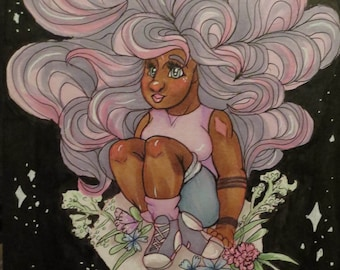 ART PRINTS: Space flower pastel girl