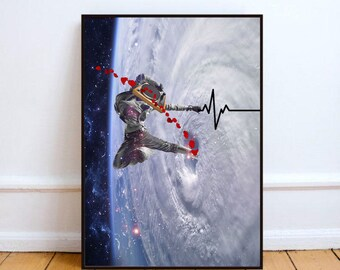 "Hip hop poster, lifeline art print, surreal collage art, space art, mixed media collage, surreal art, space print - ""You are my lifeline""."