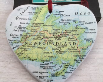 Newfoundland Map Christmas Ornament, Your Special Place in the Heart / HONEYMOON Gift / Wedding Map Gift / Travel Tree Ornament /