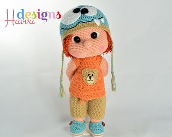 PATTERN - Tommy With Monster Hat and Clothes (Amigurumi Doll Pattern)