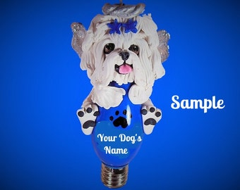 Maltese Angel Dog OOAK Christmas Light Bulb Ornament Sally's Bits of Clay PERSONALIZED FREE with dog's name