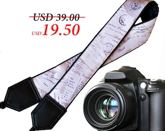 Old letters camera strap. Vintage text Camera strap. DSLR / SLR Camera Strap. Camera accessories by InTePro
